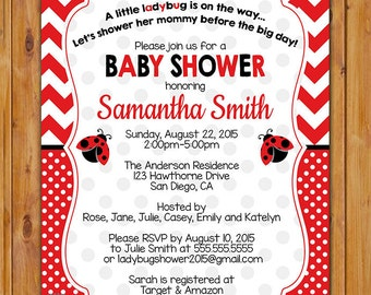 Ladybug Baby Shower Party Invitation DIY Chevron Polka Dots It's a Girl Shower Invite Red Black Invite DIY Printable Digital 5x7 JPG (133)