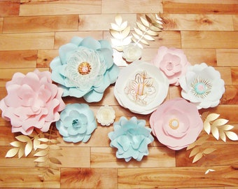 Paper Flowers - Set of 10 | Paper Flower Wall Decor | Baby Nursery | Wall Flowers | Flower Backdrop | Home Decorations | Flower Wall
