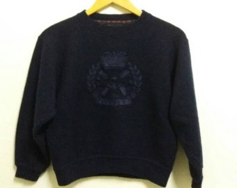 Vintage Jantzen sweatshirt spellout with embroidered logo/blue/small/merry christmas