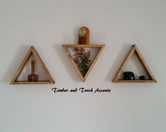 Wood triangle shelf, Wall display shelf, Knick knack shelf, Curio shelf, Farm house decor, Primitive country, Rustic wood shelf, Geometric