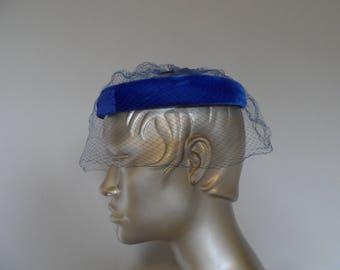 "Vintage 1950's Blue Velvet Halo Hat with Veil . Fifties Formal Hat . Evening . Wedding . Party . Pillbox . ""She Wore Blue Velvet"""