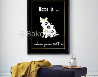 Cat poster digital printable wall art/ Modern art poster with cat/ Glamorous wall art/ home decor wall object/ unique gift for her