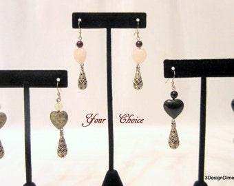 Heart Jewelry, Heart Earrings, Dangle Earrings, Gemstone Hearts, Silver Dangle Earrings, Bridesmaid Earrings
