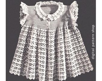 Girls Dress Crochet Pattern Lacy Heirloom Dress Pattern Lace Collar Ruffle Sleeve Dress PDF Instant Download Size 2 4 6- C52