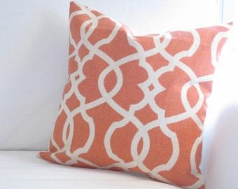 decorative pillow, pillow cover, orange pillows, pillowcase, orange pillow, trellis pillows, orange 14 in pillow, pillow for couch