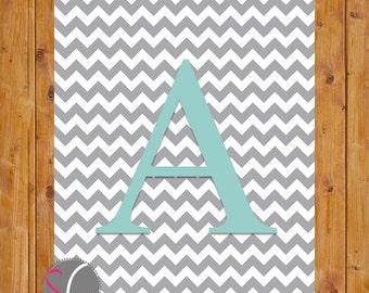 Chevron Monogram Digital Print Letter A Wall Art Nursery Art with Initial Grey Chevron Robins Egg Blue Alphabet  Nursery