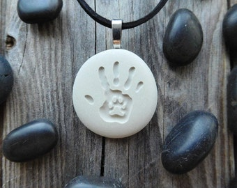 Hand and Paw Engraved pendant - Dog paw - Best Friend - Pet Lover Gift - Pet Loss - Dog Cat Tag - Personalized gift - Double Sided Pendant