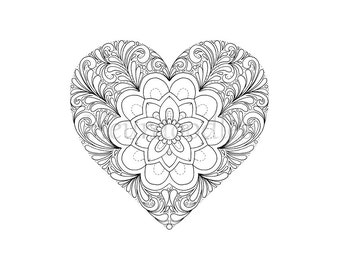 Mandala Coloring Pages Set of 5 jpegs Letter Size Instant