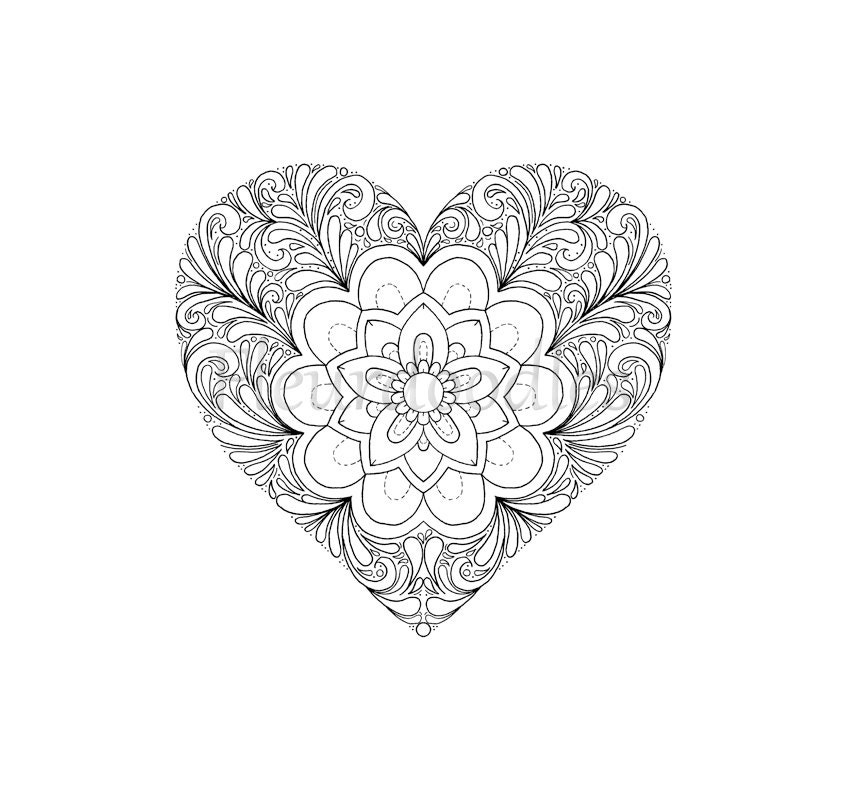 coloring page - Heart, printable download, love colouring pages ...
