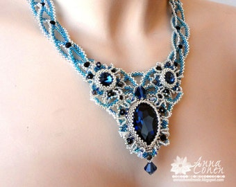 Blue Montana lace necklace FREE SHIPPING