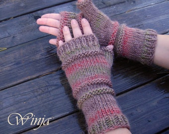 Arm warmers, knitted mittens, knit fingerless gloves, chunky knit mittens, winter beige mittens, hand knit fingerles gloves, Outlander mitts