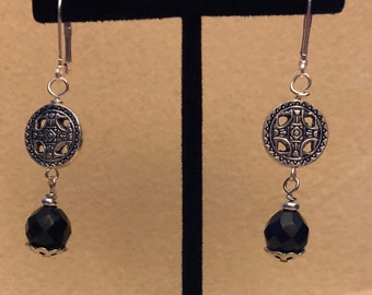 Black Czec Bead and Silver Lever Back Earrings