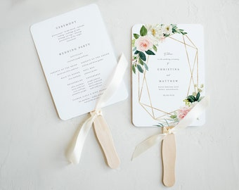 Editable Template - Instant Download Geometric Spring Romance Wedding Program Fan