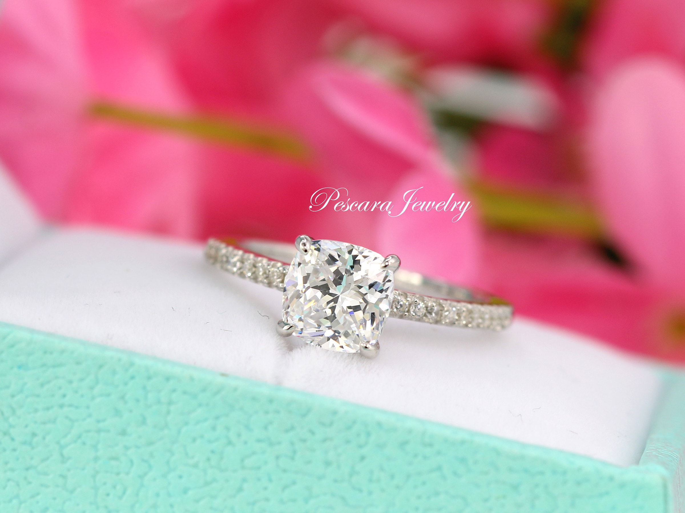2 Carat 7mm Cushion Engagement Ring Cushion Solitaire Ring