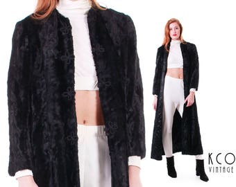 Black Duster Jacket Faux Fur Coat Faux Fur Coat 70s Boho Coat Goth Clothing Crushed Faux Fur 1970's Vintage Clothing Women's Size SMALL