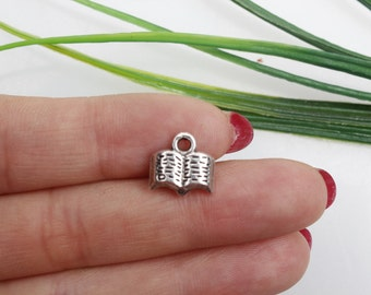 Own Charm~  11x12mm Antique  Silver Book Charms Pendants Jewelry Findings