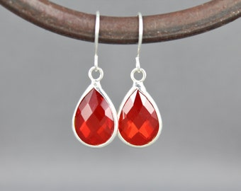 Red glass earrings faceted teardrop pendant silver dangle lightweight small dainty wedding bridesmaid gift