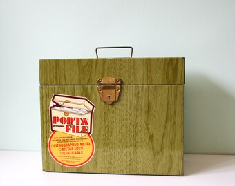Vintage green metal office storage box