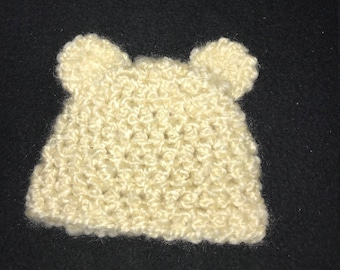 READY TO SHIP- Newborn Bear Hat with Ears in  Ivory, Crochet Photo Prop, Baby Gift--Ready to Ship