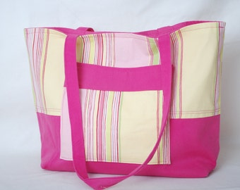 Free Shipping Pink, Green and Yellow Striped Tote Bag Purse Great for Work or School Lots of Pockets