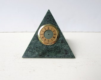 VIntage Green Marble Clock - Desk Clock - Marked Leeman Designs - Green Marble Pyramid Clock - Vintage Desk Accessory - Marble Pyramid -