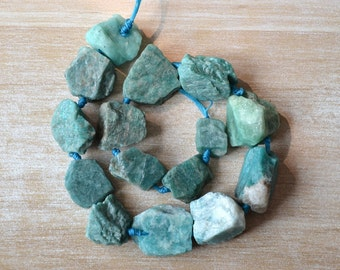 Raw Rough Natural Amazon Stone Bead Blue Amazonite Crystal Stone Beads Mineral Sample Beads Healing Crystal Stone S143