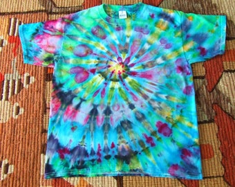 Youth Large Tie Dye T-shirt - Ice Dyed - Starry Swirl - Ready to Ship