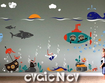 Amazing Ocean Friends - Cats Scuba Divers and Submarine Monkeys with Sunken Pirate Ship, Octopus, Shark - Underwater Wall Decals - PLUW050