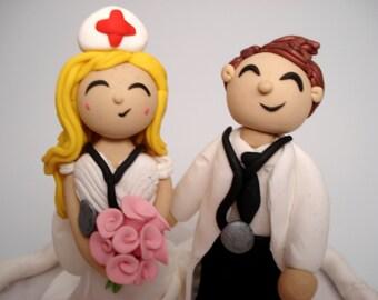 Wedding Cake Topper Nurse and Doctor Cake Toppers People Cake Topper Custom Wedding Topper Personalized Wedding Cake Toppers Bride and Groom