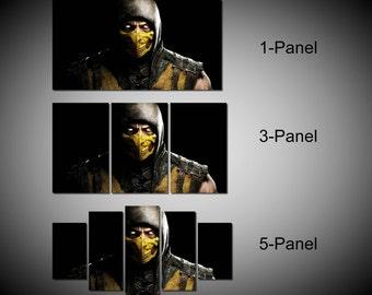 Framed Mortal Kombat Scorpion Video Games Wall Canvas Art - Ready to Hang