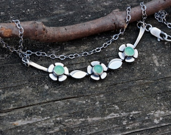 Chrysoprase necklace / sterling silver flower necklace / gift for her / jewelry sale / gift for mom / silver bar necklace / yoke necklace