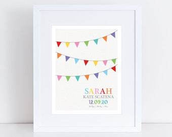 custom birth stats print - colourful bunting print - custom nursery art, personalised nursery print, birth date print, birth print stat sign
