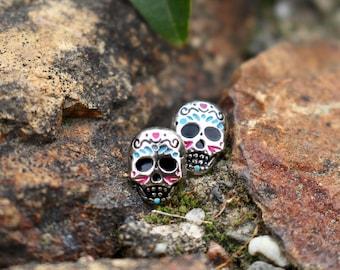 Mexican Sugar Skull Studs   Titanium Earrings   Day of the Dead   Skull Studs   Hypoallergenic Studs   Dia de los Muertos   Gift