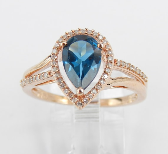 Rose Gold Diamond and London Blue Topaz Halo Engagement Promise Ring Size 8