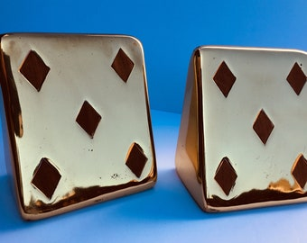 Vintage Pair Mid-Century Ben Seibel for Jenfredware Brass and Teak Five of Diamonds Bookends