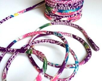 cords 2mm, Chirimen Japanese, pattern cherry blossom, violet (C3007-2)