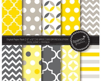 Digital background paper pack - scrapbooking paper -Modern yellow and grey patterns  BUY 2 GET 1 FREE. instant download