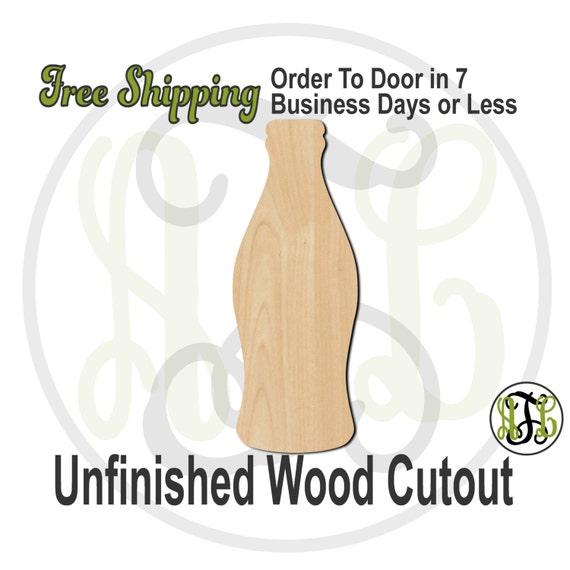 Vintage Coke Bottle - 300087- Fun Cutout, unfinished, wood cutout, wood craft, laser cut, wood cut out, Door Hanger, Wedding Favor, wooden