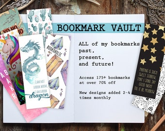 Bookmark Vault, Full Collection of My Bookmarks, Instant Download Printable,  Over 175 Bookmarks 70% Off!