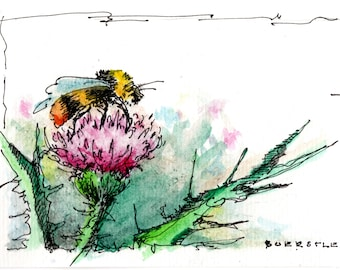 Bumble Bee Thistle - Original 4 x 6 Watercolor - Sketch - Spring Color