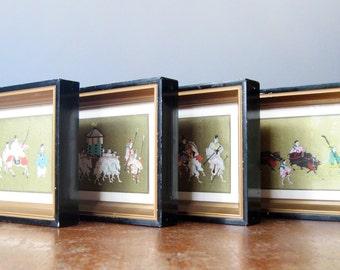 Four Framed Mid Century Uchida Co Japanese Woodblock Art Prints Figural Gold