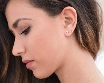 Huggie zircon hoops, Huggie earrings, Small hoops, Zircon hoop earrings, Tiny zc earrings, Mini hoop earrings, Second hole earrings, Hoops