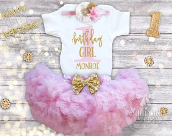 First Birthday Outfit Girl, 1st Birthday Girl Shirt Pink and Gold First Birthday One Birthday Personalized Birthday Shirt Cake Smash Outfit