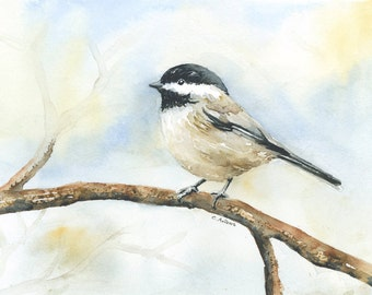 Original  Watercolor Painting of a Black Capped Chickadee 5 x 7