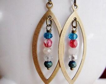 Brass Oval Earrings, Bohemian, Geometric, Art Deco, Beaded Earrings, Blue, Clear Bead, Modern, Redpeonycreations