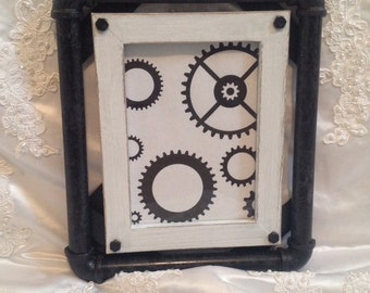 Industrial Picture Frame Steampunk Pipes Custom Colors Industrial Decor