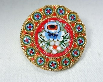 Micro Mosaic Brooch Pin with Blue Rose, Italy, Grand Tour Souvenir