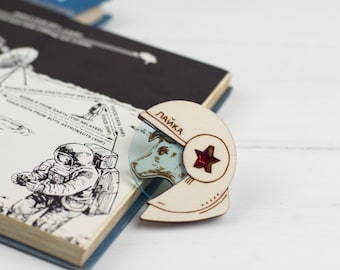 Laika the Space Dog Brooch, Soviet Cosmonaut, Laser Cut Acrylic Plywood Pin