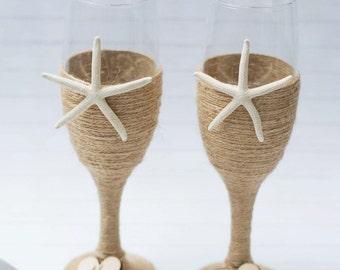 Beach Wedding Champagne Flutes Glasses Toasting Flutes Starfish Nautical Burlap Set Personalized