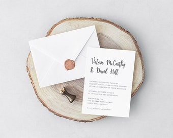 Modern Printable Wedding Invitation Set, Printable Wedding Suite, Custom Wedding Invites,  Wedding Invitation Set, Rustic Minimalist Invites